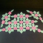 Pink Green Roses Crochet Antimacassar Chair Doily Set