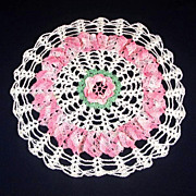 Crocheted Lacy Rose Pink and White Ruffled Doily