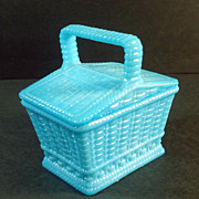 Portieux Blue Opaline Covered Basket Dish