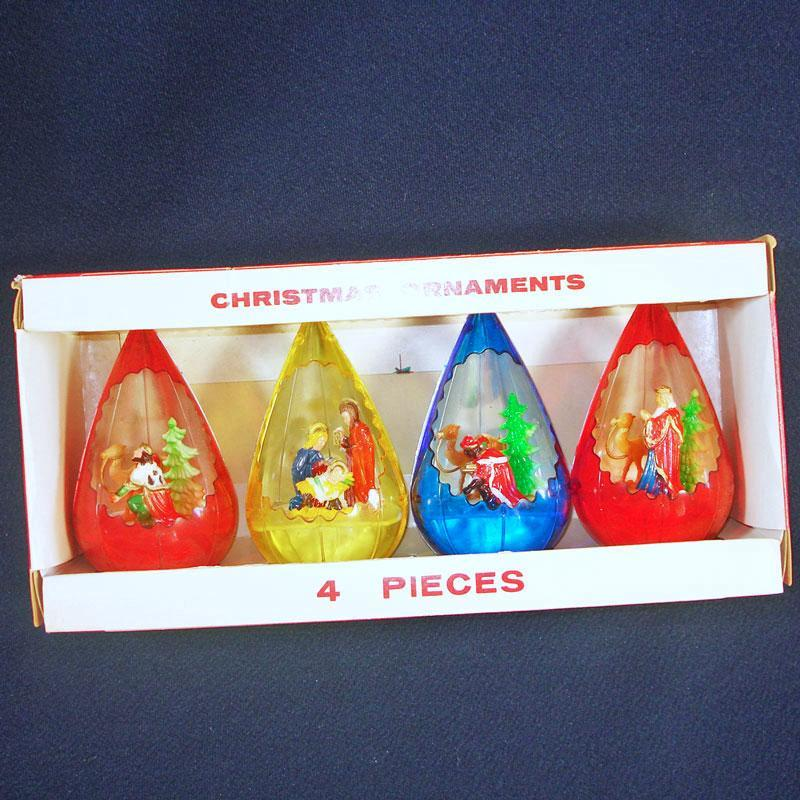 Box Jewel Brite Nativity Scene Plastic 3D Christmas Ornaments