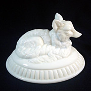 Atterbury Milk Glass Fox Covered Dish Lid Only