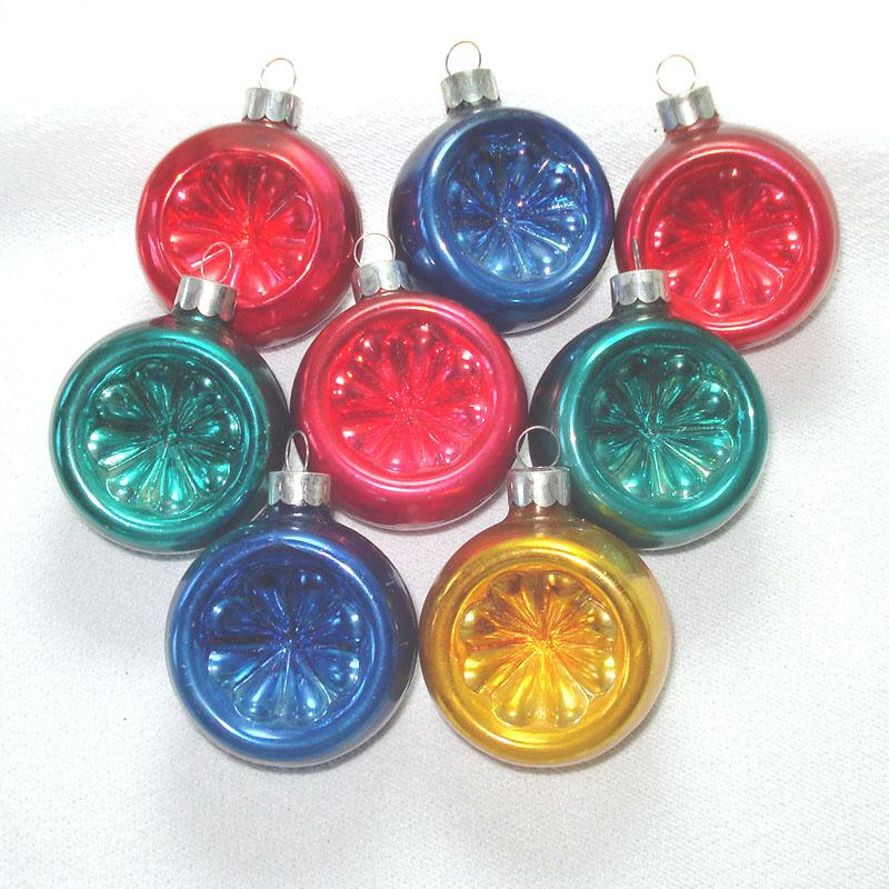 1930s Corning Glass Flower Indent Christmas Ornaments