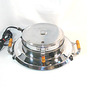General Electric Deco Round Chrome and Bakelite Waffle Iron