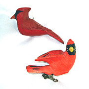 Porcelain Ceramic Cardinals Christmas Bird Ornaments