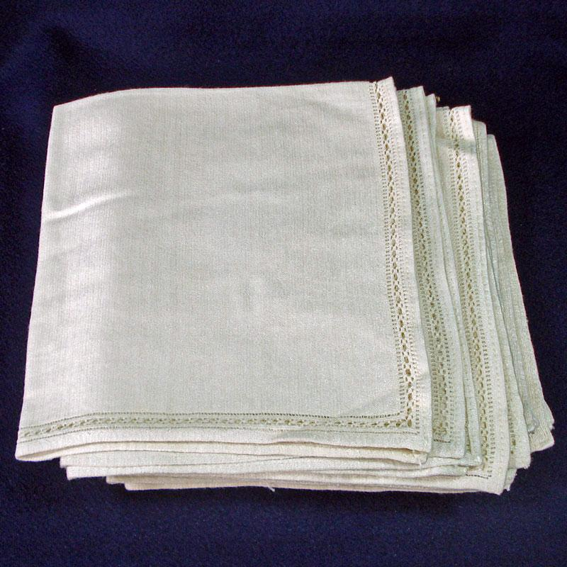 11 Vintage Silk Knit Cream Colored Dinner Napkins