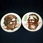 Pair Australian Aboriginal Couple Plates by Westminster