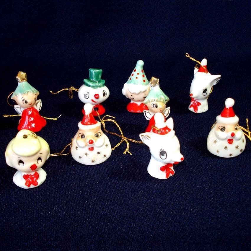 Holt Howard 1950s Miniature Porcelain Christmas Ornaments