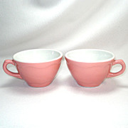 Pair Pink Shenango Restaurant Ware Coffee Cups