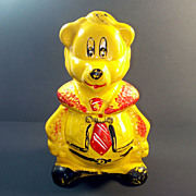 California Originals 1940s Yellow Bear in Necktie Cookie Jar