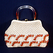 Beige Raffia Straw 1960s Purse Lucite Handle, Root Beer Plastic Beads