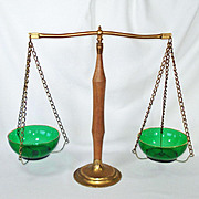 Brass and Maple Scales of Justice Balance Scale