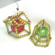 Wired Mercury Glass Bead House and Bell Christmas Ornaments