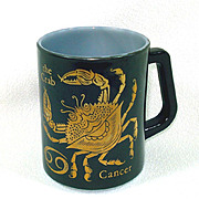 Black Gold Zodiac Coffee Mug Sign of Cancer Federal Glass