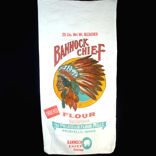 Bannock Chief Pocatello Flour Sack, Great Indian Head Graphics