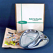 Milbern Mid Century Chrome Double Tear Drop Serving Dish in Box