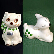 Rio Hondo Pottery 1940s Cat Bank and Deer Figurine