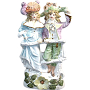 Sculpted Porcelain Bisque Colonial Provincial Couple Figurine