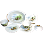 6 Pieces Oriental Landscape Scene Porcelain China Cups Plates Bowl