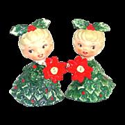 Holt Howard Christmas Holly Girls Salt and Pepper Shakers