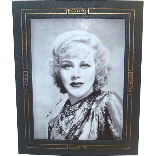 1930s Leatherette Easel Back Picture Frame With Ginger Rogers