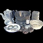 10 Item Antique Vintage Kitchen Lot Coffee Pot, Pans, Utensils