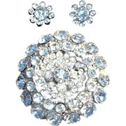 Pave Rhinestone Flower Brooch and Earrings Set