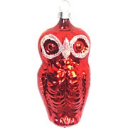 Red Owl West Germany Glass Christmas Ornament