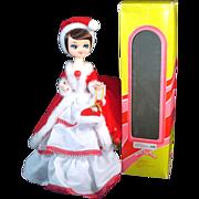 Boxed 1970s Big-Eyed Bradley Style Christmas Girl Boudoir Doll