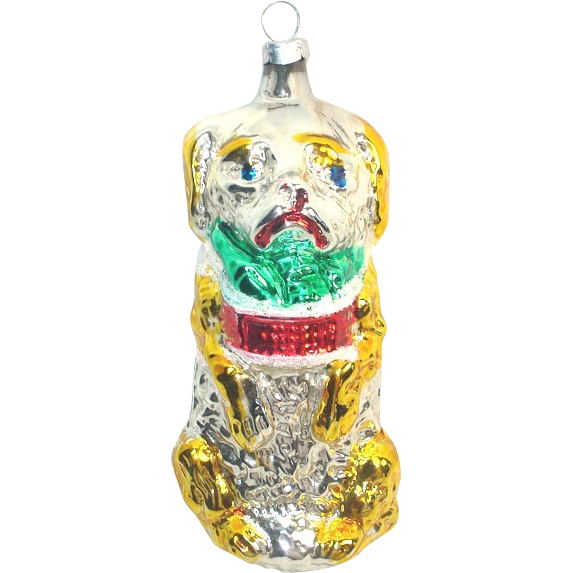 Begging Dog With Basket 1970s Glass Christmas Ornament