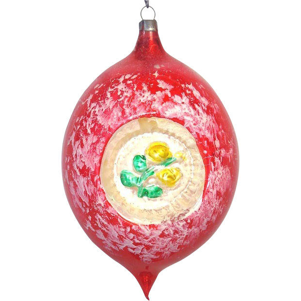 1950s Jumbo Rose Embossed Double Indent Christmas Ornament