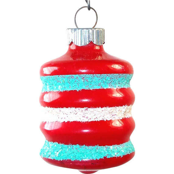 Shiny Brite Unsilvered Red Mica Barrel Christmas War Ornament