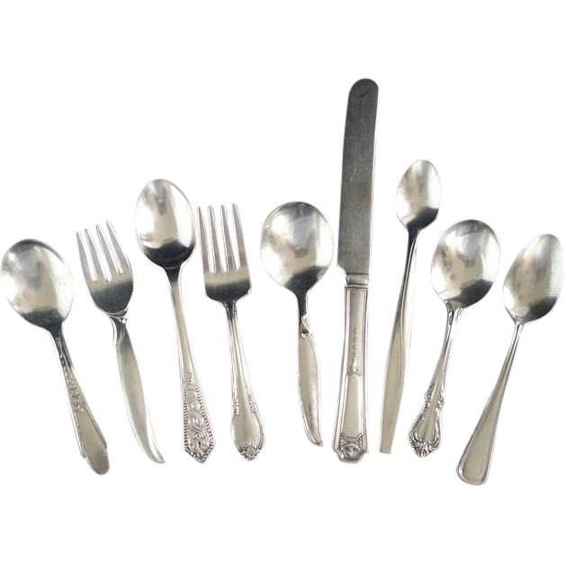 9 Mixed Pieces Silverplate Baby Flatware Lot Spoons Forks Knife