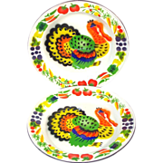 2 Colorful Mid Century Enamelware Turkey Dinner Plates