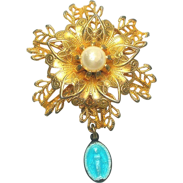 Goldtone Filigree Flower Virgin Mary Miraculous Medal Brooch Pin