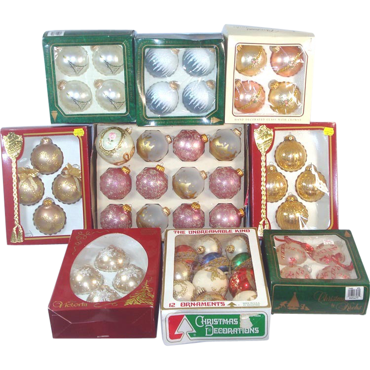 Nine Boxes Glass Christmas Ornaments Circa 1980