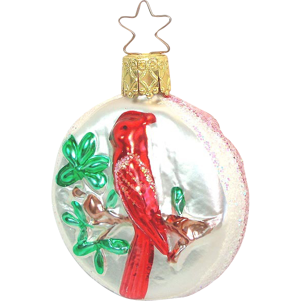 Inge Half Round Red Cardinal Glass Christmas Ornament