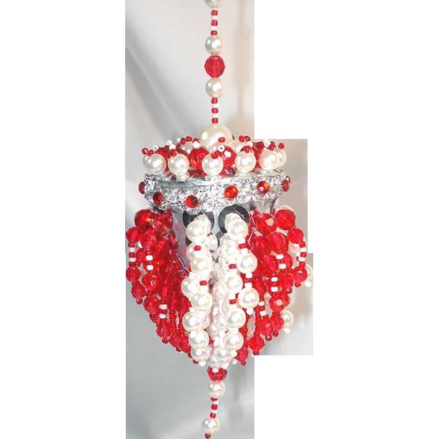 Red white beaded chandelier tea ball christmas ornament from red white beaded chandelier tea ball christmas ornament mozeypictures Image collections