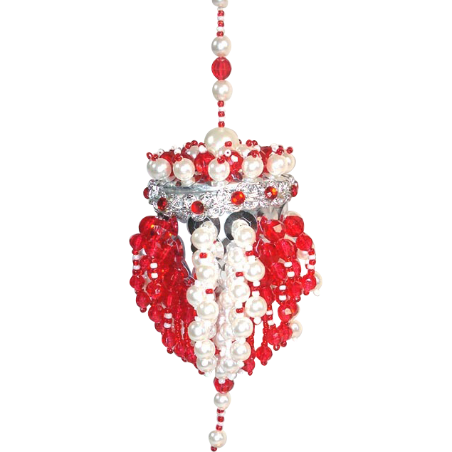 Red White Beaded Chandelier Tea Ball Christmas Ornament