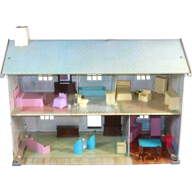 Tin Litho 2 Story Dollhouse With Furniture From