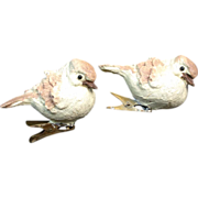 2 Composition Clay Chickadee Clip On Christmas Ornaments