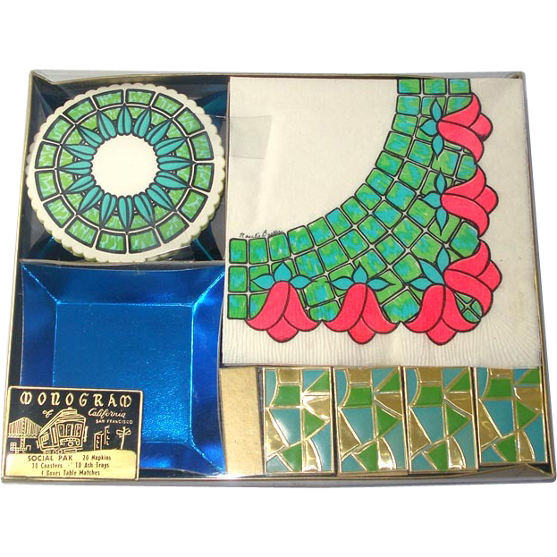 1960s Retro Party Tableware Kit Unused Napkins, Coasters, Matches