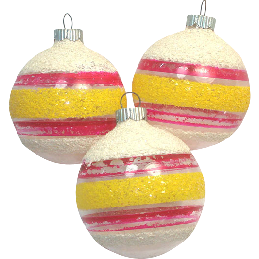 3 Shiny Brite Mica Stripes Unsilvered Christmas WWII Ornaments
