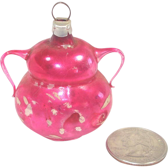 Mini Pink Glass Urn or Vase West Germany Christmas Ornament