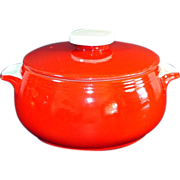 Hall 1940s Chinese Red Pert Covered Casserole