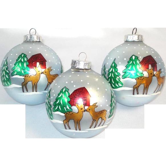 Reindeer in Snowy Woods 3 Big Stenciled Glass Christmas Ornaments