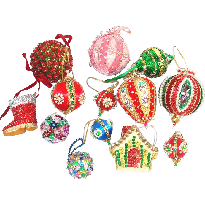 Bakers Dozen Pin Beaded and Sequin Christmas Ornaments
