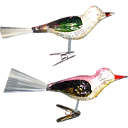 2 Germany Clip On Bird Christmas Ornaments Spun Glass Tails