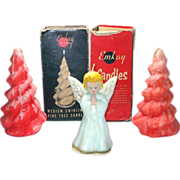 Gurley Blue Angel and Emkay Red Christmas Tree Figural Candles