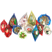 Jewel Brite, Bradford Plastic Scene Christmas Ornaments Plus Icicles