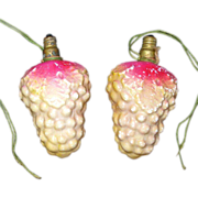 Pair Large Grape Cluster Figural Christmas Light Bulbs